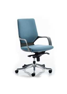 Picture of Office Chair Company Xenon Executive Black Chair Blue Fabric Medium Back With Arms