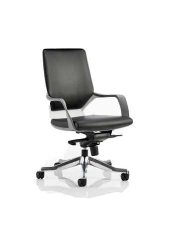 Picture of Office Chair Company Xenon Executive White Chair Black Leather Medium Back With Arms