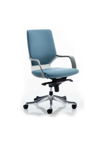 Picture of Office Chair Company Xenon Executive White Chair Blue Fabric Medium Back With Arms