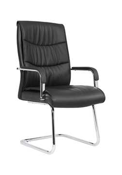 Picture of Office Chair Company Carter Black Luxury Faux Leather Cantilever Chair With Arms