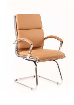 Picture of Office Chair Company Classic Visitor Cantilever Chair Tan With Arms