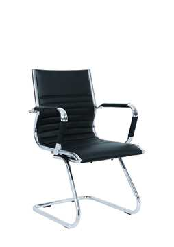 Picture of Office Chair Company Heiro Cantilever Black Faux Leather Designer Chair With Arms