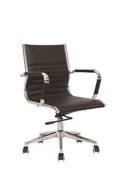 Picture of Office Chair Company Heiro Medium Back Black Faux Leather Designer Chair With Arms