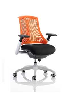 Picture of Office Chair Company Flex Task Operator Chair White Frame Black Fabric Back With Orange Back With Arms