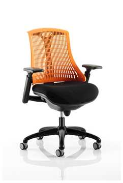 Picture of Office Chair Company Flex Task Operator Chair Black Frame With Black Fabric Seat Orange Back With Arms