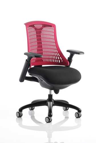 Picture of Office Chair Company Flex Task Operator Chair Black Frame With Black Fabric Seat Red Back With Arms