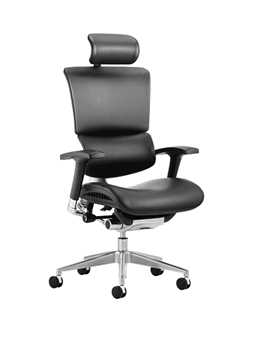 Picture of Office Chair Company Ergo-Dynamic Posture Chair Black Bonded Leather Black Frame With Arms With Headrest
