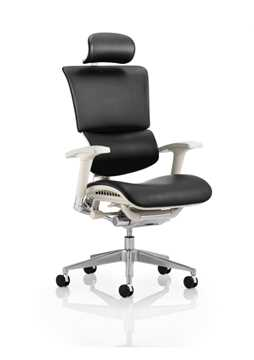 Picture of Office Chair Company Ergo-Dynamic Posture Chair Black Bonded Leather Grey Frame With Arms With Headrest
