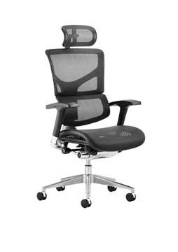 Picture of Office Chair Company Ergo-Dynamic Posture Chair Black Mesh Black Frame With Arms With Headrest