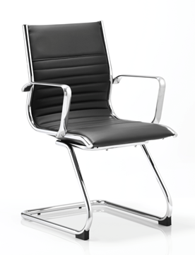 Picture of Office Chair Company Ritz Visitor Cantilever Chair Black Bonded Leather With Arms