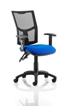 Picture of Office Chair Company Eclipse II Lever Task Operator Chair Mesh Back With Blue Seat With Height Adjustable Arms