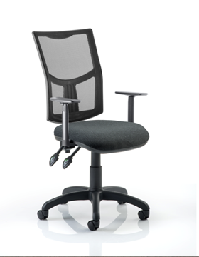 Picture of Office Chair Company Eclipse II Lever Task Operator Chair Mesh Back With Charcoal Seat With Height Adjustable Arms