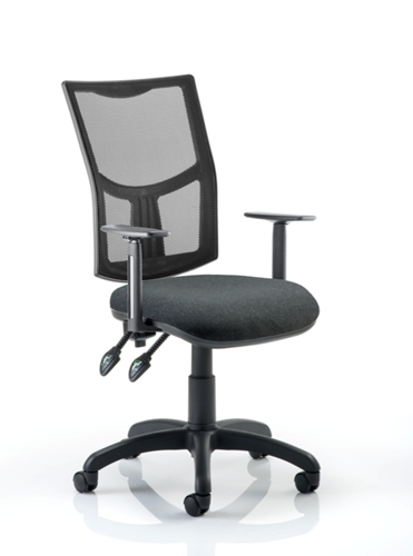 Picture of Office Chair Company Eclipse II Lever Task Operator Chair Mesh Back With Black Seat With Height Adjustable Arms