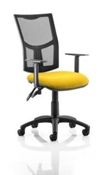 Picture of Office Chair Company Eclipse II Lever Task Operator Chair Mesh Back With Bespoke Colour Seat in Sunset With Height Adjustable Arms