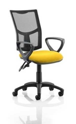 Picture of Office Chair Company Eclipse II Lever Task Operator Chair Mesh Back With Bespoke Colour Seat With loop Arms in Sunset
