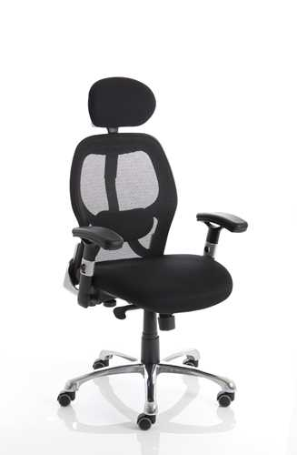 Picture of Office Chair Company Sanderson Executive Chair Black Airmesh Seat With Mesh Back With Arms