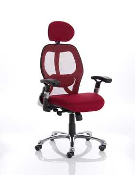 Picture of Office Chair Company Sanderson Executive Chair Red Airmesh Seat With Mesh Back With Arms