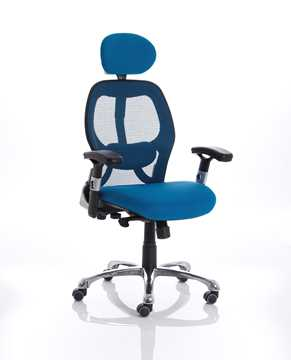 Picture of Office Chair Company Sanderson Executive Chair Blue Airmesh Seat With Mesh Back With Arms