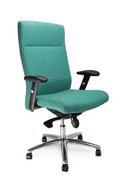 Picture of Office Chair Company Jester High back synchro with adjustable arms and chrome base - Aqua
