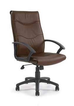 Picture of Swithland High back leather faced executive armchair - Brown