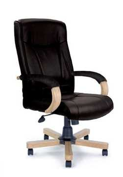 Picture of Office Chair Company Troon Leather with oak effect arms and base - Black