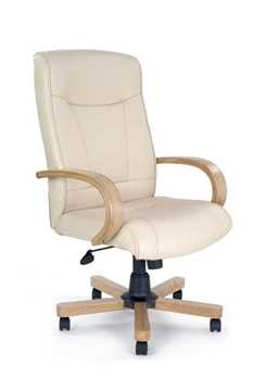 Picture of Office Chair Company Troon Leather with oak effect arms and base - Cream