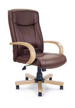 Picture of Office Chair Company Troon Leather with oak effect arms and base - Brown