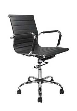 Picture of Office Chair Company Aura Leather Effect with Chrome Base - Black