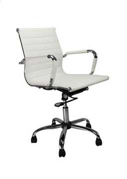 Picture of Office Chair Company Aura Leather Effect with Chrome Base - White