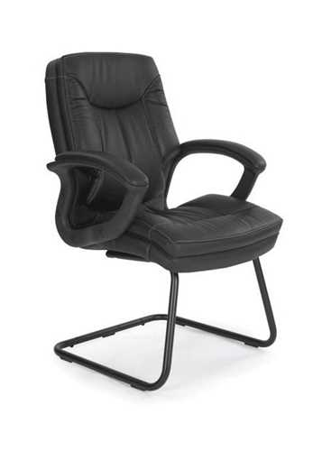 Picture of Office Chair Company Hudson Cantilever framed leather faced with contrasting stitching - Black