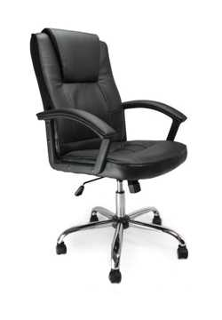Picture of Office Chair Company Lynton highback leather faced with polished alloy base - Black