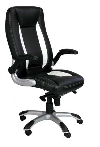 Picture of Office Chair Company Friesian High Back with Satin Chrome Base - Black and White