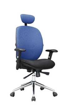 Picture of Office Chair Company Pegasus High Back Mesh with Headrest - Black & Blue