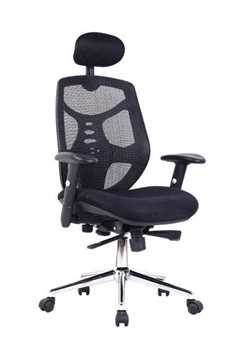 Picture of Office Chair Company Polaris Mesh High Back With Headrest and Chrome Base