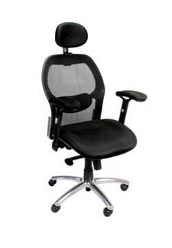 Picture of Office Chair Company Hermes High back Mesh with Headrest and Chrome base - Black