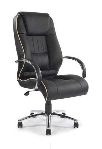 Picture of Office Chair Company Dijon Leather Armchair with Contrasting Piping - Black