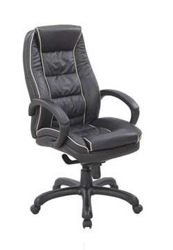 Picture of Office Chair Company Truro Leather Armchair with Contrasting Piping - Black