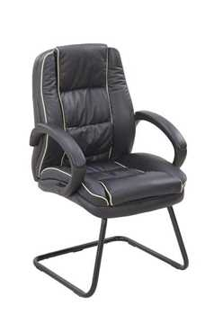 Picture of Office Chair Company Truro Cantilever Visitors Chair with Contrasting Piping - Black
