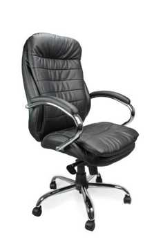 Picture of Office Chair Company Leather Chair with Chrome Base - Black