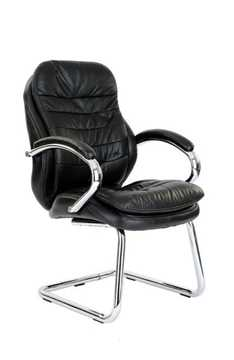 Picture of Office Chair Company Santiago Chrome Cantilever Leather Visitors Chair - Black