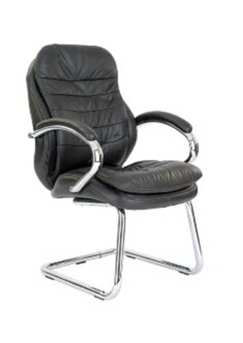 Picture of Office Chair Company Santiago Chrome Cantilever Leather Visitors Chair - Brown