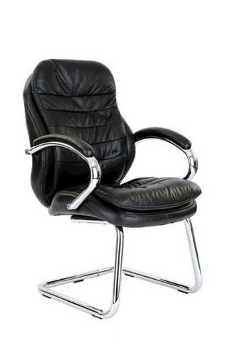 Picture of Office Chair Company Sandown Chrome Cantilever Leather Chair - Black