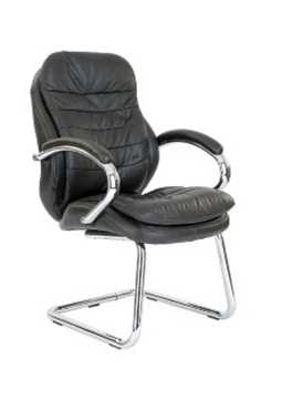 Picture of Office Chair Company Sandown Chrome Cantilever Leather Chair - Brown