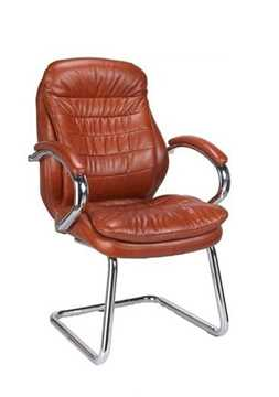 Picture of Office Chair Company Sandown Chrome Cantilever Leather Chair - Tan