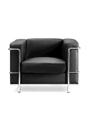 Picture of Office Chair Company Belmont Leather Faced Armchair with Chrome Detail - Black