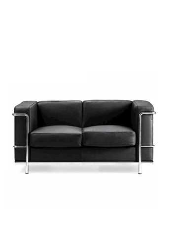 Picture of Office Chair Company Belmont Leather Faced Two Seater Sofa with Chrome Detail - Black