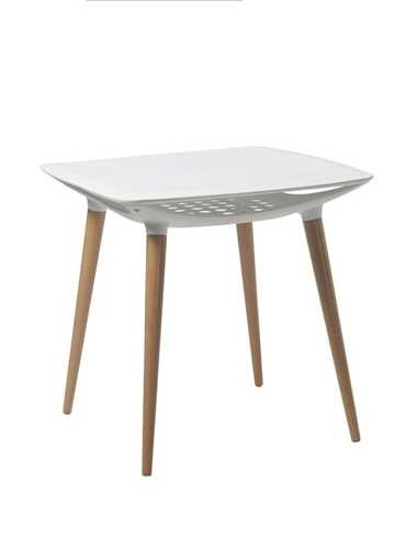 Picture of Office Chair Company Espresso Poly Table with Beech Legs - White