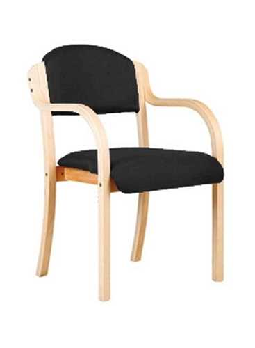 Picture of Office Chair Company Tahara Wooden Framed Stackable Side Armchair - Black