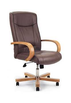 Picture of Office Chair Company Troon High back Leather with oak effect arms & base (chrome stem) - Brown